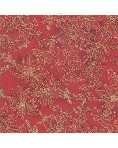 Poinsettias and Pine Metallic by Moda